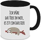 Tasse Trinkbecher Kaffeetasse Keramiktasse Teetasse Kaffeebecher Ich spüre das Tier in mir, es ist ein Faultier (schwarz)