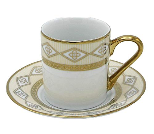 Porzellan Porzellan Espresso Turkish Coffee Demitasse 6er Set Tassen + Untertassen Geflochtene Bordüre fein Demi-tasse, 3 oz, 100 ml gold 3 Demitasse Tassen