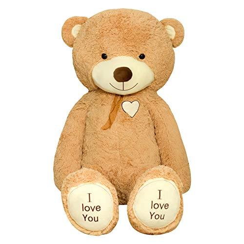 TEDBI Teddybär 220cm | Farbe Hellbraun | Groß Teddy Bear Plüschbär Stofftier Kuscheltier Plüschtier XXL Teddi Bär mit Stickerei I Love You Ich Liebe Dich
