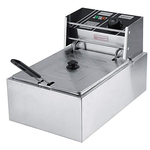 LBSX Fritteuse, 6L Edelstahl-Fritteuse for Gewerbe Elektro-Catering Küchenmaschine mit Korb und Temperaturregelung Fritteuse
