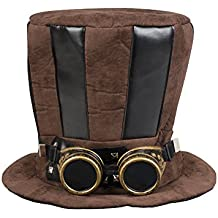 Boland Cappello Cilindro Tuba Steampunk con Occhiali per Adulti 57a5db9535d3