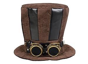 Boland-Sombrero Cilindro Tuba Steampunk con gafas para adultos, color marrón, talla única, 54514