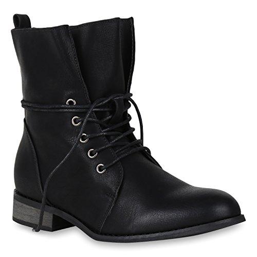 Stiefelparadies Damen Stiefeletten Schnürstiefeletten Leicht Gefütterte Stiefel Leder-Optik Boots Klassisch 148503 Schwarz All 37 Flandell