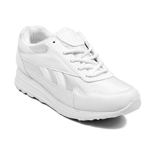 Asian shoes Boy's White School Shoes -8 Uk/Indian