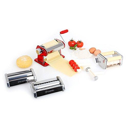 Klarstein Siena Rossa • Pasta Maker • Nudelmaschine • Pastamaschine • verchromter Edelstahl • Teigbreite 150 mm • Knetwalze verstellbar • Schneidwerkzeug • inkl. Teigschneider und Tischklemme • rot