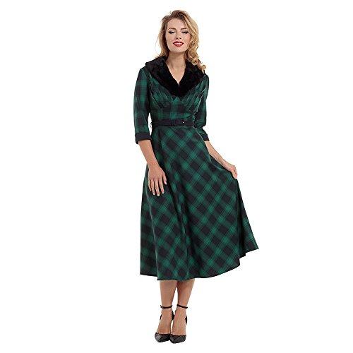 Abito Design Scozzese Lola Voodoo Vixen (Verde) - X-Large