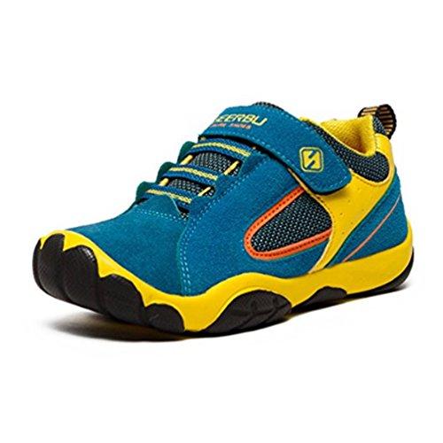 SAGUARO Jungen Trekking Wanderschuhe Kinder mit Klettverschluss Leicht Sport Schuhe Outdoor Laufschuhe Mädchen Turnschuhe Sneaker 32 EU=Label 33 Blau