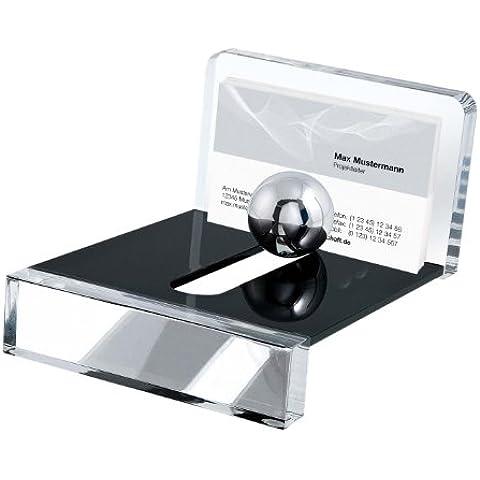 Wedo Acryl Exklusiv - Soporte para tarjetas de visita, diseño con esfera, transparente / negro