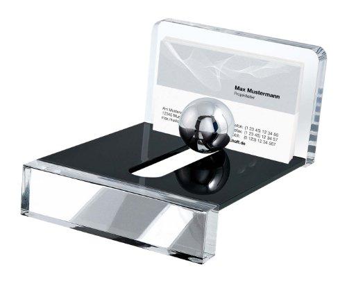 Wedo 601401 Acryl Visitenkartenhalter (Acryl Exklusiv, mit Stahlkugel) glasklar/schwarz