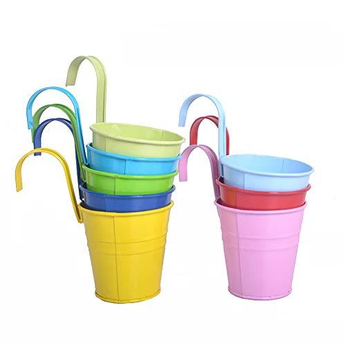 Baoffs Pianta appesa/vasi di Fiori Set di 8 vasi per Piante in Metallo Fioriere con fioriera Fioriera per finestre Fioriere-Gancio Amovibile Ornamenti per la casa Giardino(Colore Casuale)