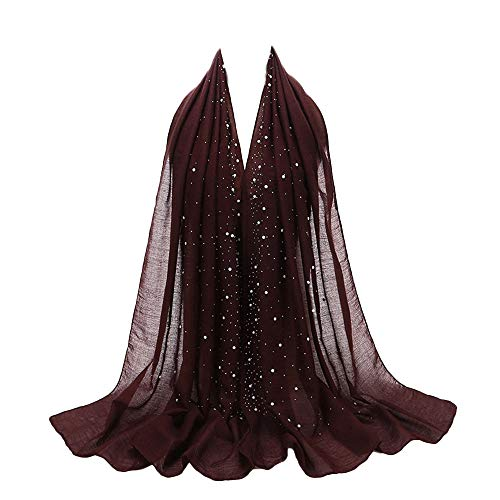 Muslim Damen Chiffon Lange Schal mit Perle Dünn Bandana Zubehör Elegant Kopftuch Turban Islamischen Abaya Dubai Frauen Hijab Weich Stirnband Hidschab Ramadan Kopfbedeckung (Purple)