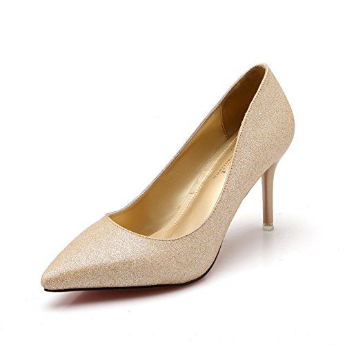 Damen Pumps Spitze Mattleder Stilettos Slip On Schöne High Heels Gold