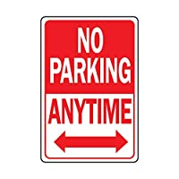 "‏‪Hy-Ko Products HW-1 No Parking Anytime Heavy Duty Aluminum Sign 12"" x 18"" Red/White, 1 Piece‬‏"