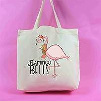 Flamingo Bells Tote Bag Christmas Decoration Christmas Present Retro Vintage Xmas Gift Xmas Ornament Noel Rustic Homely Warm Shopping