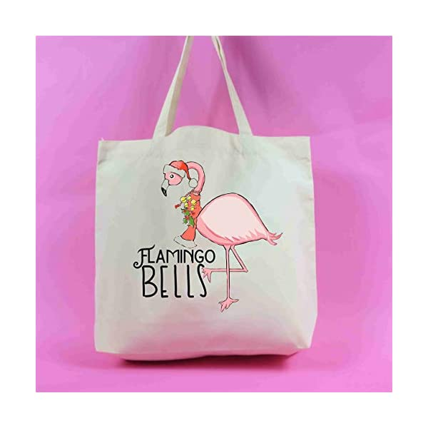 Flamingo Bells Tote Bag Christmas Decoration Christmas Present Retro Vintage Xmas Gift Xmas Ornament Noel Rustic Homely Warm Shopping - handmade-bags