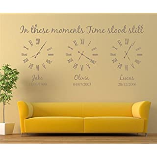 Personalised Family Wall Art Sticker, in These Moments time Stood Still Sticker (L:120cm x 60cm, Dark Grey)