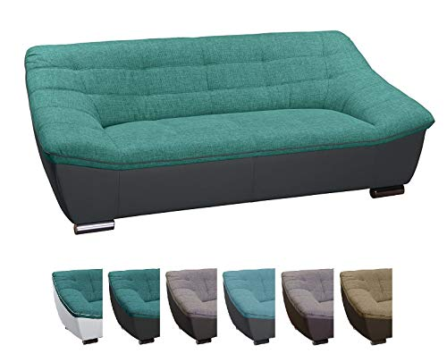 CAVADORE Couch mit Materialmix / Gemütliches Sofa im modernen Design / Kunstleder und Strukturstoff / 212 x 81 x 92 / Türkis - Schwarz