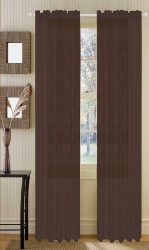 Asbury Voile Sheer Panel, Dark Brown, 53x84 -