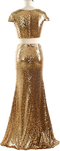 MACloth Women Mermaid Two Piece Cap Sleeves Maxi Prom Dress Sequin Formal Gown Turquoise