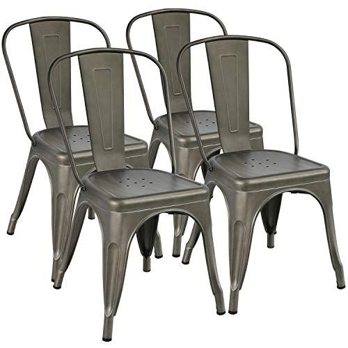 Yaheetech 4x Esszimmerstuhl Wohnzimmerstuhl Küchenstuhl Metallstuhl stapelbar Sitzgruppe mit hoher Rückenlehne 45 cm