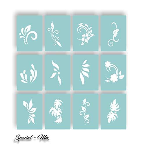 144 Airbrush-Schablonen Einzelmotive - Airbrush Nail Art selbstklebend Floral
