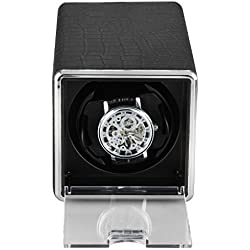 Excelvan Black Crocodile PU Leather Automatic Watch Winder Auto Single Wristwatch Winder Rotator UK