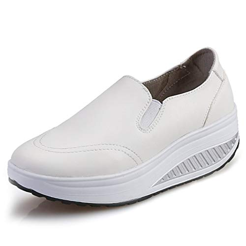 Solshine Damen Einfach Leder Bequem Erhöhte Sportliche Loafers Freizeitschuhe weiß 40 EU / 6 UK / 7.5 US