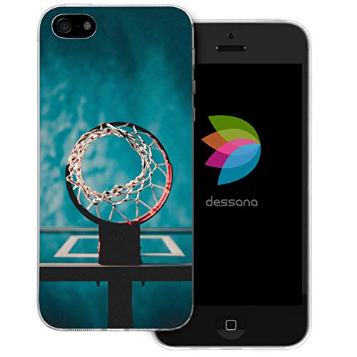 dessana Basketball Transparente Schutzhülle Handy Case Cover Tasche für Apple iPhone 5/5S/SE Wurfnetz Ball Apple-ball