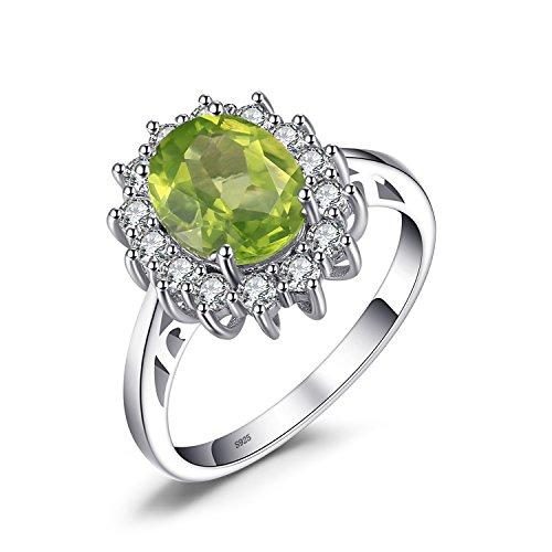 JewelryPalace Prinzessin Diana William Kate 2.2ct Natürliche Grün Peridot Verlobungsring Ring 925 Sterling Silber Größe 51 to 59 (Edelstein-ringe Silber Sterling)