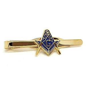 BOBIJOO Jewelry – Krawattenklammer Vergoldet feingold Metall-Email Blau Freimaurer Winkel Zirkel G