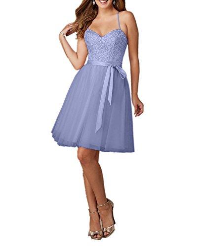 Charmant Damen Rosa Knielang Spitze Traegerkleider Abendkleider Ballkleider Promkleider A-linie Rock Festlichkleider Kurz Lilac