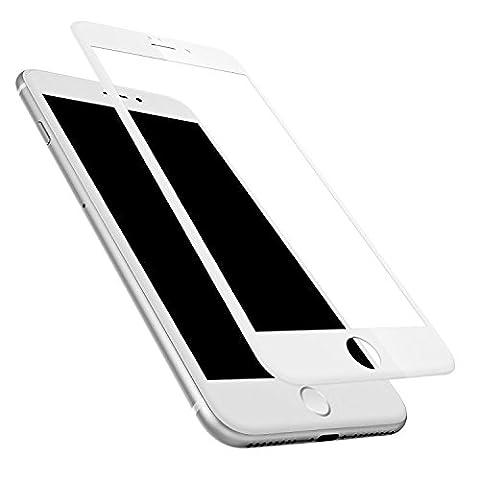 Ownstyle4you - Apple iPhone 7 Voll abdeckende 4D Panzerglas in Weiss 9H Schutzfolie Displayglas Extra Schutz Glasfolie - Force Touch Kompatibel