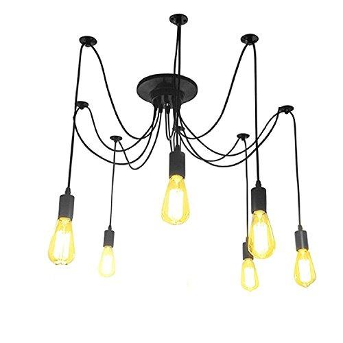 LemonBest ® Chandelier à 6 ampoules Edison-Ampoule Lampe de Plafond-Suspension-Lampes