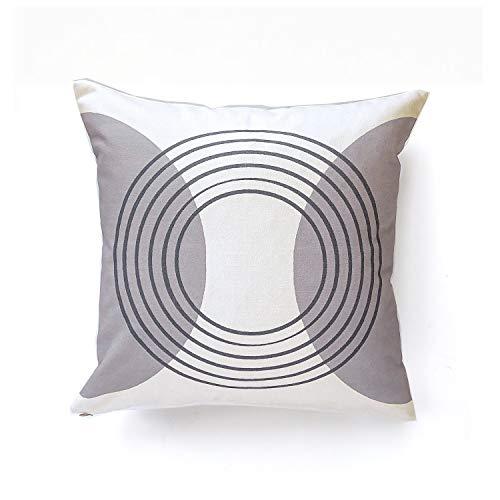 Isola Retro-Kissenbezug, Motiv Kreise, modernes Mitteljahr, cremefarben/Grau -