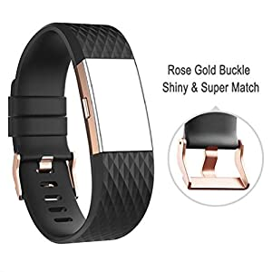 41xkS5%2B9s6L. SS300  - DD For Fitbit Charge 2 Straps, Replacement Accessories Watch Band Adjustable Silicone Wrist Straps for Fitbit Charge 2 with ROSE GOLD BUCKLE
