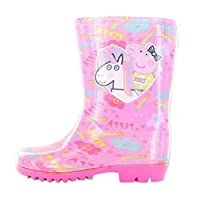Character Clothing Girls Toddler Nick Jr Peppa Pig Winter Rain Wellies Welly Shoes Boots Pink Glitter Children Size 5-10
