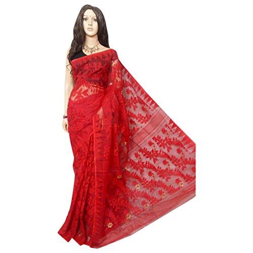 ETHNIC EMPORIUM Damen Red Hochzeit Dhakai Jamdani Handloom Silk Saree Ethnic Indian Schöne Selbst Arbeit Traditionelle Sari Bengal Weavers 105 43481 Wie gezeigt -
