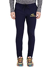 American-Elm Men's Nevy Blue Cut Brand Logo Printed Stylish Trackpant