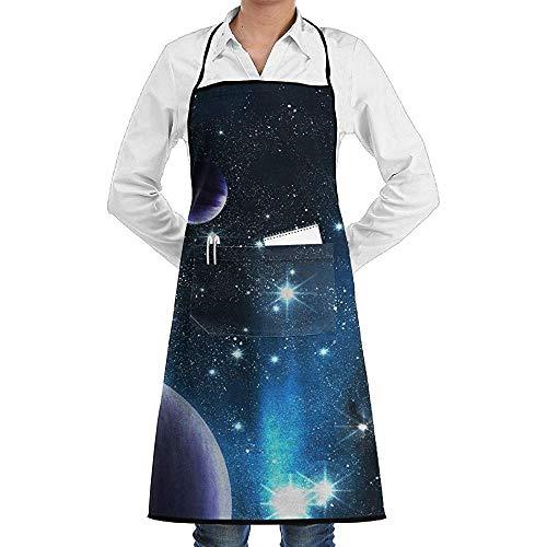 Space Kostüm Nebula - UQ Galaxy Küchenschürze,Space Nebula Planet Schürze Lace Unisex Chef verstellbare Lange vollschwarze Küche Schürzen Lätzchen mit Taschen zum Backen Crafting BBQ