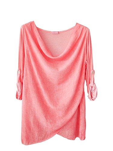 Trends für Dich Damen Blusenshirt Langarm Shirt Bluse Wasserfallausschnitt (8140) (Einheitsgröße Passend für - S/M - 36 38 40, Lachs/Hummer Rosa) (Rosa Hummer)