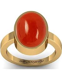 jaipurforyou Certified Moonga (Red Coral) 7.40cts or 8.25 ratti panchdhatu ring