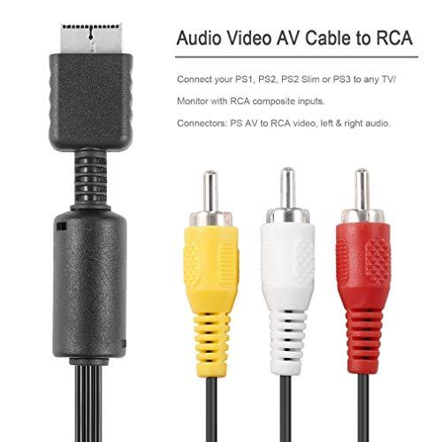 Preisvergleich Produktbild Unicoco Audiokabel / Video-Kabel für Playstation PS / PS2 / PS3,  1, 8 m,  Schwarz