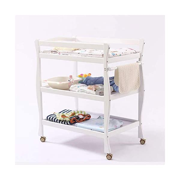 Baby Changing Table White, Newborn Diaper Station Dresser with Casters & Pad, Portable Wood Nursery Organizer for Infant GUYUE Silent caster with brake. Safety rails enclose all four sides of the changing area Strong and sturdy wood construction: Pine + solid wood paint free board. 2