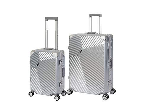 Travelhouse Roma Koffer Set Silber S-55cm + L-77cm · Alu Rahmen · Polykarbonat Hartschale · Reisegepäck Reisetrolley Trolley · Je 2X TSA Zahlenschloss ·...
