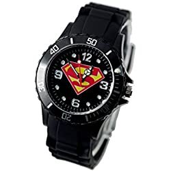 TAPORT® SUPERMAN Quartz Watch MARVEL Black SILICONE Band +FREE SPARE BATTERY+FREE GIFT BAG