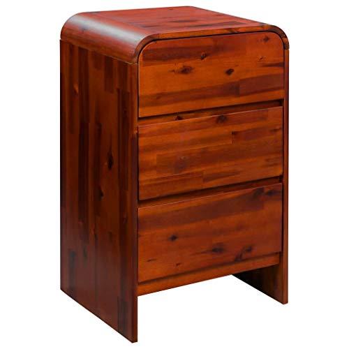 Nishore Nachttisch | Holz Nachtschrank | Elegant Nachtkommode | Schlafzimmer Beistelltisch | Massives Akazienholz Mit 3 Schubladen 45 x 37 x 75 cm