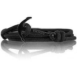 Vikings Line Ancre- Bracelet dans le nylon Noir (Black)