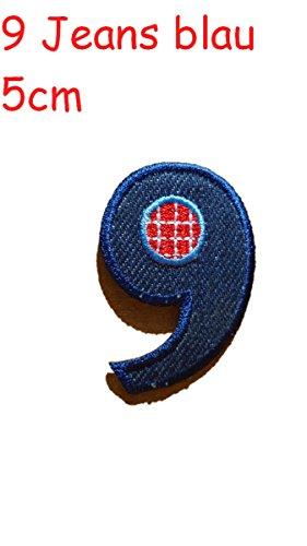 Zahl 9 rot blau 5cm Stoff Aufbügler Flicken Aufnäher Patches im Design von TrickyBoo Zürich Schweiz personalisieren Kleider Jeans Hosen Rock T-Shirt mit Zahlen Nummern Geburtsjahr Datum von Mädchen Buben Baby und jungen Kindern
