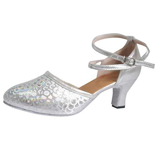 Damen Standard Latein Funkeln Tanzschuhe Salsa Tango Ballsaal Tanzen Schuhe Hochzeit Abendschuhe Knöchelriemen, Celucke Klassische Pumps Brautschuhe Frühling Elegante Schuhe (Silber, EU39)