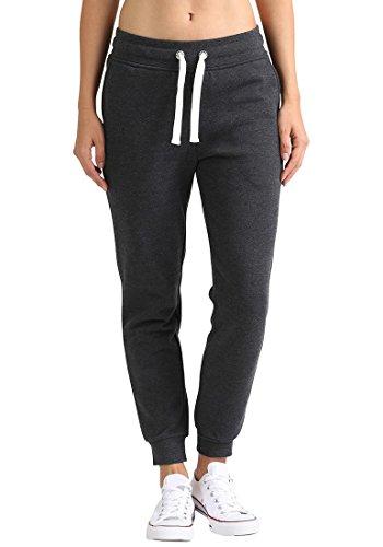 DESIRES Derby Damen Sweathose Sweatpants Relaxhose Mit Fleece-Innenseite Und Kordel Regular Fit, Größe:XS, Farbe:Dark Grey Melange (8288)